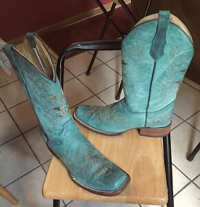 Circle G by Corral Womens Boots Size 11 M Western Turquoise Square Toe L5135 $49.99
