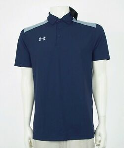 New Under Armour UA HeatGear Blue UA Golf Polo Shirt Mens Large $23.99
