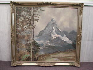 Large Antique Framed Oil on Canvas Swiss Alps Landscape Painting Unsigned $199.99