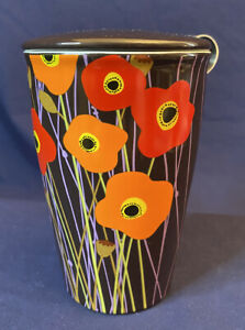 Ceramic Tea Brewing Cup Tea Forte Kati with Infuser Basket and Lid Poppy Fields