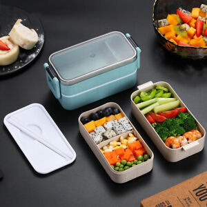 Microwave Bento Wheat Straw Lunch Box Leak-Proof Picnic Food Container for Kids
