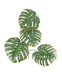 17 Inch Green Metal Palm Leaf Sculpture Wall Hanging Art Tropical Tree Decor $39.99
