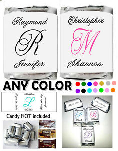MONOGRAM WEDDING FAVORS CANDY WRAPPERS LABELS PERSONALIZED $4.99
