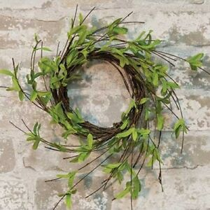 New Shabby Chic Farmhouse Rustic TWIGGY GREEN LEAVES Candle Ring Wreath 4quot;