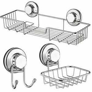 Suction Shower Caddy Soap Dish Double Bath Hook Stainless Steel Suction Cup 3Pcs