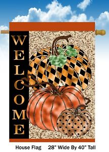 Welcome Pumpkins    House Flag Quality Double Sided  28x40