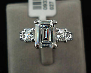 Certified 3.00ct Emerald cut Diamond Engagement Ring in Solid 14K White Gold