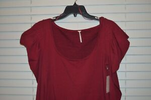 NEW Free People Womens Junior Black Red Shirt Top Blouse Size XS Extra Small $58 $10.46