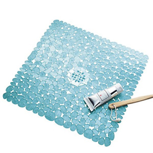 iDesign Pebblz Suction Non-Slip Square Bath Mat for Shower, Bathtub, Stall, 2...