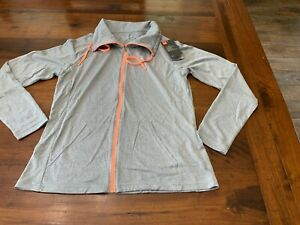 NWT WOMEN'S UNDER ARMOUR LIGHTWEIGHT ZIP FRONT JACKET GRAY PEACH LOOSE MED $55. $22.00