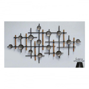 Abstract Wall Art Modern Sculpture Wood Metal Crossed Lines & Circles Home Decor $97.43