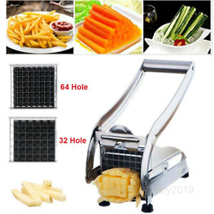 Stainless Steel French Fry Cutter Potato Vegetable Slicer Chopper With 2 Blades