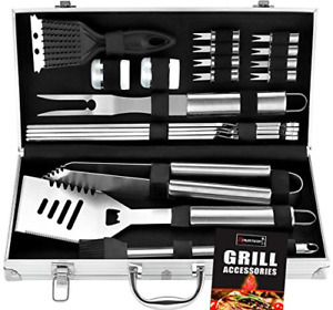 ROMANTICIST 20pc Heavy Duty BBQ Grill Tool Set in Case The Very Best Grill on