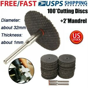 100pc Fiberglass Reinforced Cut Off Wheel Disc w/ 2*Mandrel 1/8
