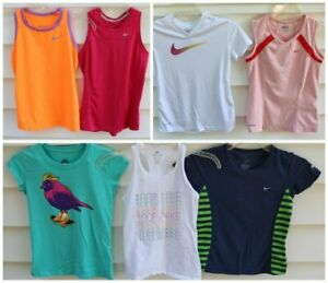 Nike Girls Youth Medium 10 12 LOT of 7 T shirts Tanks Tops Pro Dri Fit $9.99