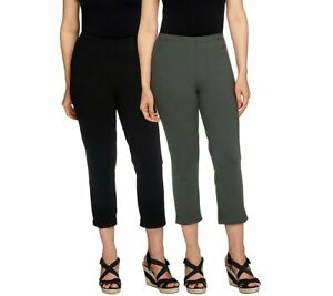 A251653 Women w Control Set of 2 Straight Leg Knit Crop Pants BLACK SMOKE 2X 107
