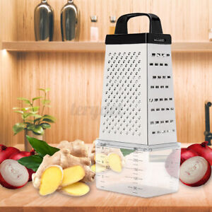 Stainless Steel Manual Cheese Vegetable Grater  4 Sided w/ Container Tray
