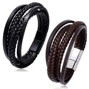Men Black Braided Leather Bracelet Cuff Bangle Wrap Wristband Magnetic Clasp