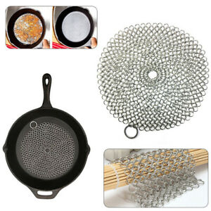 Stainless Steel Cast Iron Cleaner Chain Mail Scrubber Skillets Pans Kitchen Tool