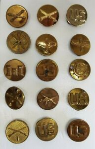 COLLECTION of 12 Old Antique Military Brass COLLAR LAPEL BUTTONS $49.95