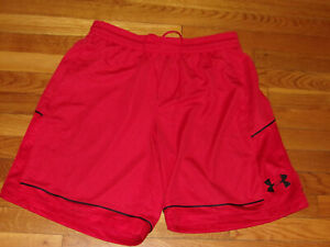 UNDER ARMOUR RED BLACK ATHLETIC BASKETBALL SHORTS MENS LARGE EXCELLENT CONDITION $10.50