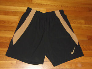 NIKE DRI FIT BLACK GOLD ATHLETIC RUNNING SHORTS MENS 2XL EXCELLENT CONDITION $13.50