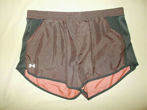 UNDER ARMOUR BLACK & PEACH PRINT RUNNING SHORTS WITH LINER WOMENS XL EXCELLENT $8.50