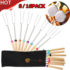 16PCS Telescoping BBQ Marshmallow Roasting Sticks Smore Skewers Hot Dog Fork 32'
