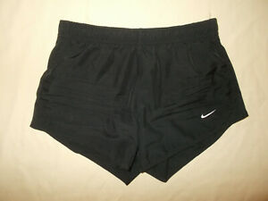 NIKE DRI FIT BLACK ATHLETIC RUNNING SHORTS WITH LINER GIRLS MEDIUM EXCELLENT $0.99