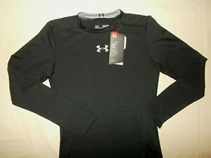 NWT UNDER ARMOUR HEAT GEAR LONG SLEEVE BLACK FITTED SHIRT BOYS LARGE RETAIL $29 $0.99