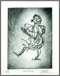 SOLO PERFORMER MUSICIAN Original ETCHING Signed Limited-Edition Art Print $24.00