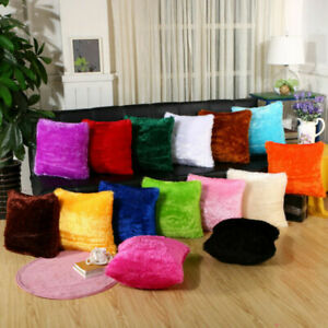 New Fluffy Fur Plush Pillow Case Shaggy Home Sofa Decor Soft Cushion Cover Throw $3.39