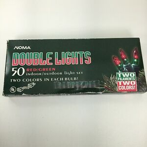 Noma Christmas Lights Double Color Each Bulb Red Green 19.5' 50 Mini Bulbs Rare