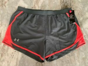 XL UNDER ARMOUR Women Gray Fly By 2.0 Athletic Running Shorts Fitness Heat Gear $29.95