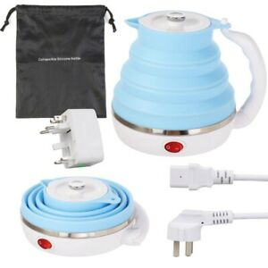 600ML Portable Foldable Silicone Travel Water Boiler Electric Kettle US