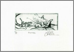 A SLEEPING CAT Original ETCHING Signed Numbered Limited Edition Art Print $34.00