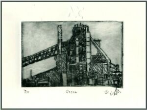 OLD STEEL MILL Original ETCHING Signed Numbered Limited Edition Art Print $21.00