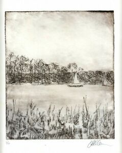Lakeside Sailboats Original ETCHING Signed Numbered Limited Edition Art Print $34.00