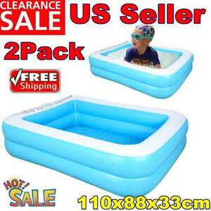 2x Inflatable Swimming Pool Large Rectangular Family Kid Outdoors Ground Pool