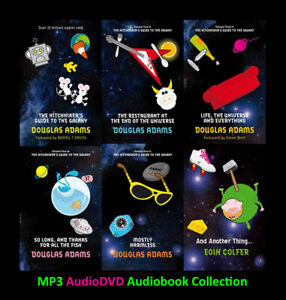The HITCHHIKERS GUIDE TO GALAXY Series By D. Adams 7 MP3 Audiobook Collection