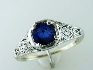 Vintage Sapphire Engagement Ring .85ct Solitaire 14K Platinum Art Deco Antique