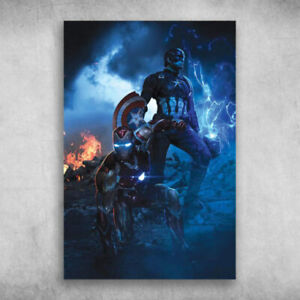 Avengers End Game Iron Man And Captain America Poster No Frame Xmas Gift $18.81