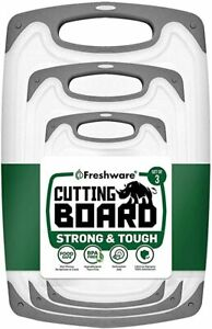 Freshware Cutting Board Set Juice Grooves with Easy Grip Handles