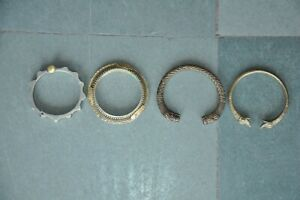 4 Pc Old Brass Unique Handcrafted Inlay Engraved Bracelets Bangles