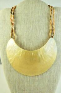 Vintage Moon Shaped Mother of Pearl on MOP Bead Statement Necklace $39.95