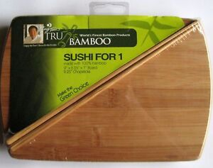 Tru Bamboo: Sushi for 1 Bamboo Board Kit with Bamboo Chopsticks New and Sealed