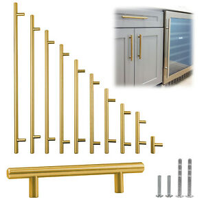 Gold Brushed Satin Brass Stainless Steel T Bar Pull Kitchen Cabinet Handle 2quot; 14