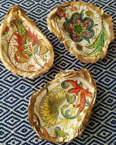 Chinoiserie Chintz Multi Coral Green Gold Oyster Shell set of 3