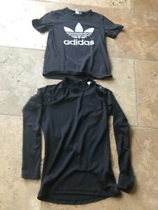 LOT OF 2 BOYS Black ADIDAS Shirts Size Small Short And Long Climacool Sleeve $9.34