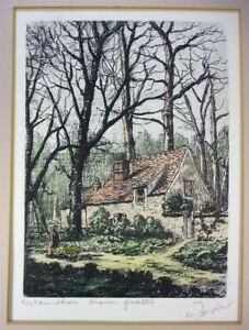 MAURICE JACQUE Fontainebleau Maison Forestiere Original Hand Colored Etching $49.99